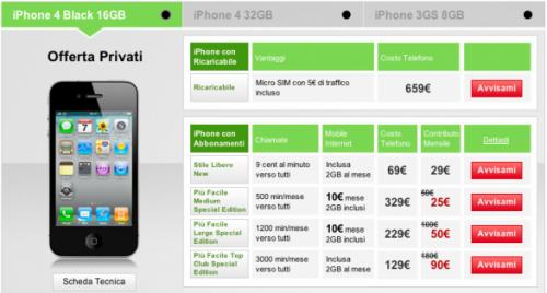 Voda iPhone 4 offerte 001 500x268 Vodafone pubblica sul proprio sito le offerte di iPhone 4, si parte da 25  Euro al mese