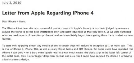 iPhone4 letterApple iPhone 4: Apple dirama un comunicato ufficiale dove ammette che il problema di ricezione esiste