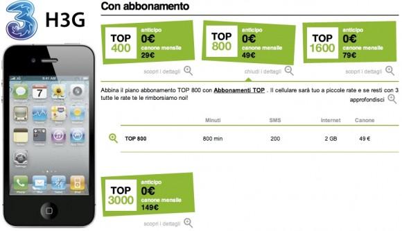 3 abbonamenti top 580x333 Inchiesta iPhone 4: Prezzi e tariffe degli operatori a confronto