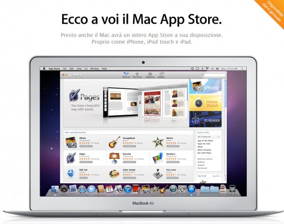 Mac App Store 001 580x457 Apple ha dichiarato che il Mac App Store sarà disponibile il 6 gennaio