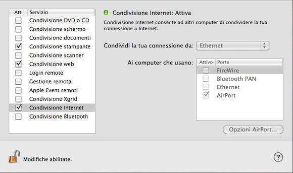 condivisione4 Mac OS X: Come trasformare il nostro Mac in un punto di accesso Wi Fi
