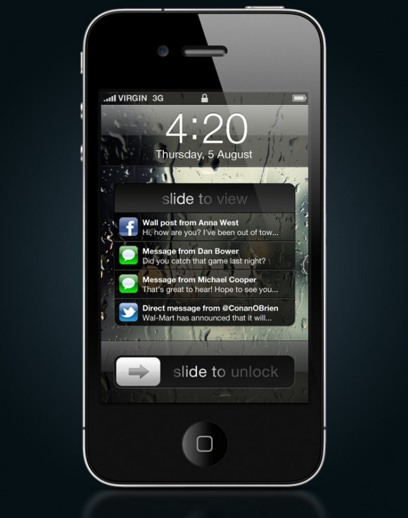 notifications lock screen 580x736 Un concept mostra come potrebbero essere le notifiche push in iOS 5