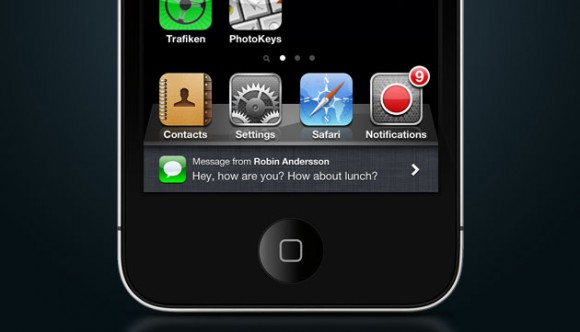 notifications popup1 580x332 Un concept mostra come potrebbero essere le notifiche push in iOS 5