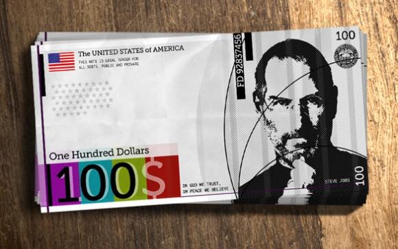In Steve Jobs We Trust Dollar ReDesign Project Apple CEO hundred dollar bill 580x363 Apple è più ricca del Governo degli Stati Uniti dAmerica