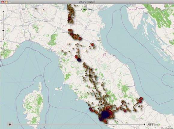 iphone tracker 580x430 I movimenti degli iPhone in europa mostrati come lucciole in un video