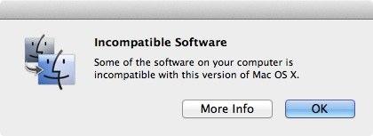 softincompatibles 20110705 094752 Lion OS X 10.7 riconosce in automatico le applicazioni incompatibili