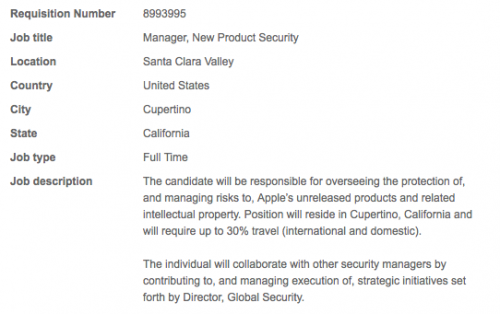 Security Apple Apple cerca nuovi Managers for New Product Security