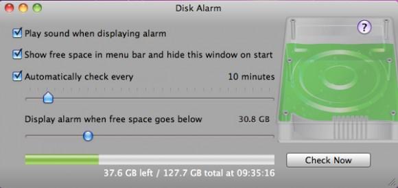disk alarm 1 580x274 Tieni sotto controllo lo spazio libero sui tuoi dischi con Disk Alarm