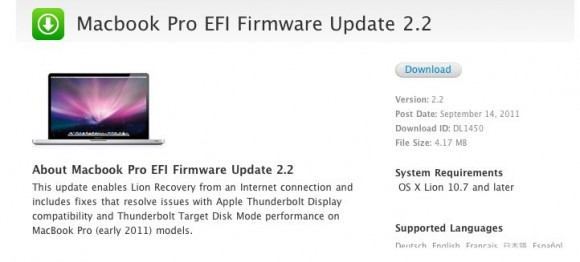 macbook pro 580x262 Apple rilascia laggiornamento del firmware EFI per il MacBook Pro e per il Mac mini