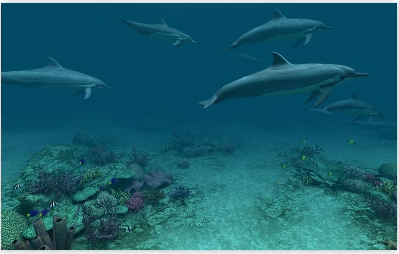 Italiamac dolphins 3d uno sfondo animato per chi ama il for Sfondo animato pesci