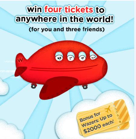 wazec Vinci 4 biglietti aerei grazie al Contest 'Con Waze vai ovunque'