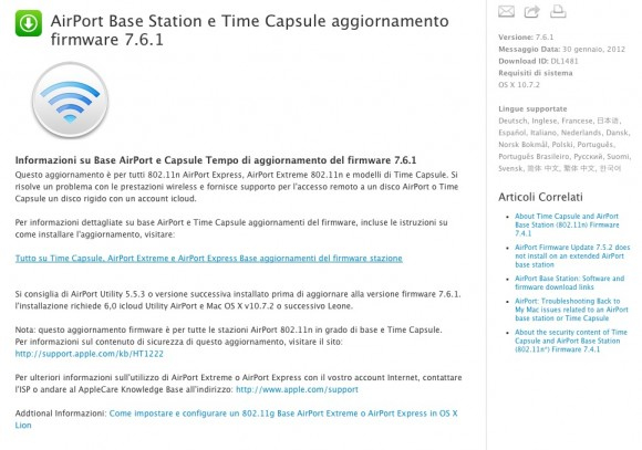 Schermata 01 2455958 alle 12.18.08 580x407 Apple rilascia una nuova versione di Utility Airport 6 per mac OS X Lion e un nuovo firmware per AirPort Base e Time Capsule