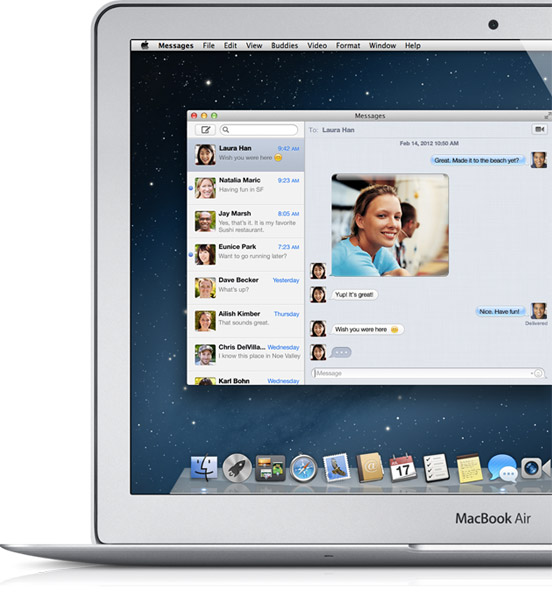 messages screenshot iMessage anche su Mac OS X, ecco la Beta di Message