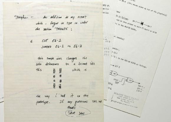 steve jobs appunti 580x416 Un manoscritto di Steve Jobs allasta da Sothebys