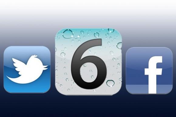 ios 6 FB TW 580x386 Facebook integrato nel nuovo iOS, è la volta buona?