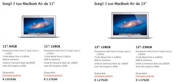prezzi e caratteristiche nuovi air 580x272 Nuovi MacBook Air: caratteristiche e prezzi