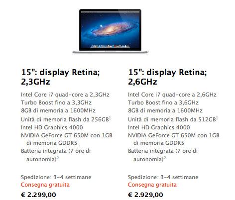ritardo spedizioni Aumentano i tempi di attesa per i nuovi MacBook Pro con display Retina