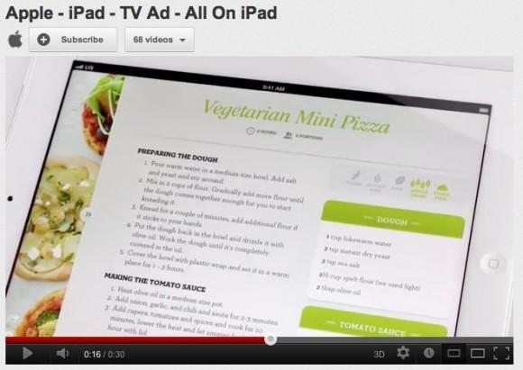 ipadadago 580x411 Nuovo spot per liPad, cè anche la pizza
