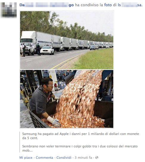 monete5centsamsungapple Spopola in rete la satira di Samsung che paga Apple con 30 camion di monetine da 5 cent
