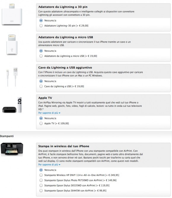 accessoriiphone5 580x666 iPhone 5 disponibile anche online sullo store di Apple