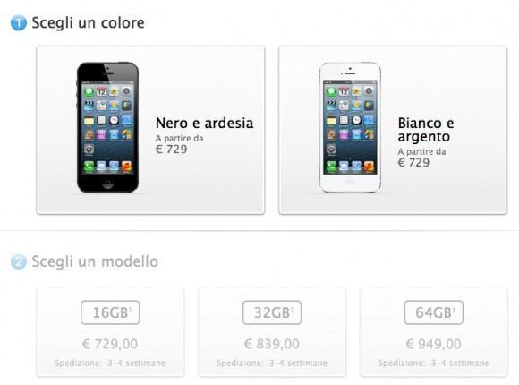 modelliiphone5 580x430 iPhone 5 disponibile anche online sullo store di Apple