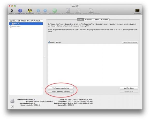 utility disco permessi 580x464 Il nostro Mac va lento? Controlliamolo e troviamo la soluzione