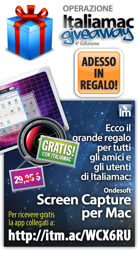 ScreenCapture regalo Italiamac Giveaway: Ecco lapplicazione per Mac in regalo