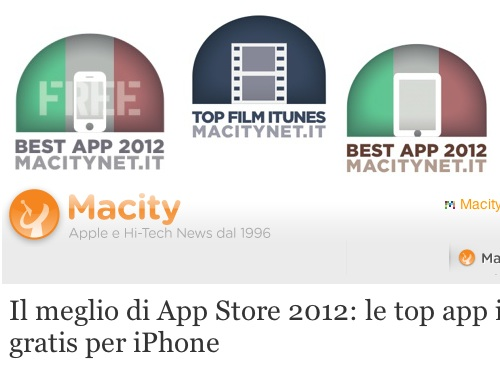 bestapp2012 Anche questanno il sito Macitynet.it premia il meglio di iTunes Store 2012