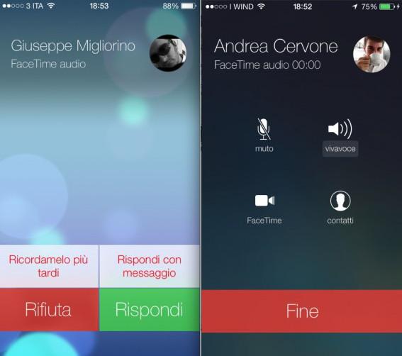 Facetime Audio in iOS 7