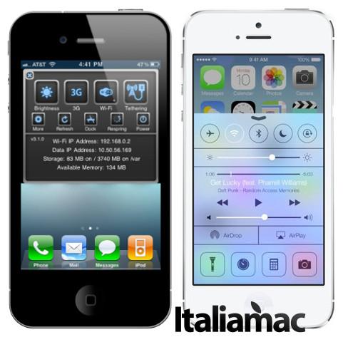 Sbsetting vs Control Center di iOS 7