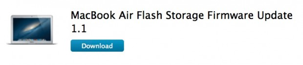 Flash Storage Firmware Update 1.1 620x133 Apple rilascia laggiornamento firmware per MacBook Air Flash Storage Firmware Update 1.1