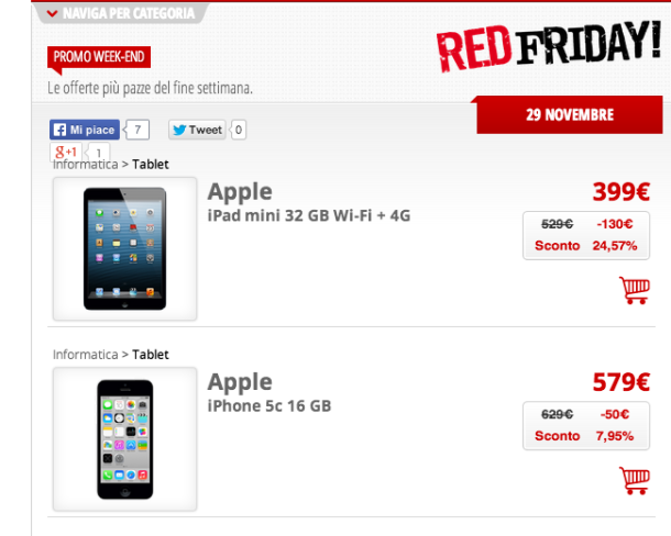 Red Friday Black Friday: iPhone 5C e iPad Mini in offerta da Mediaworld, anche online!