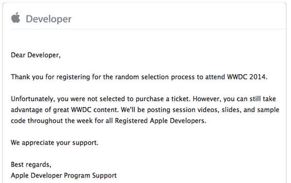 Schermata 2014 04 09 alle 21.39.45 Vengono notificate le mail ai vincitori per partecipare al WWDC 2014