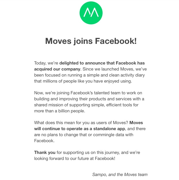 Moves joins Facebook