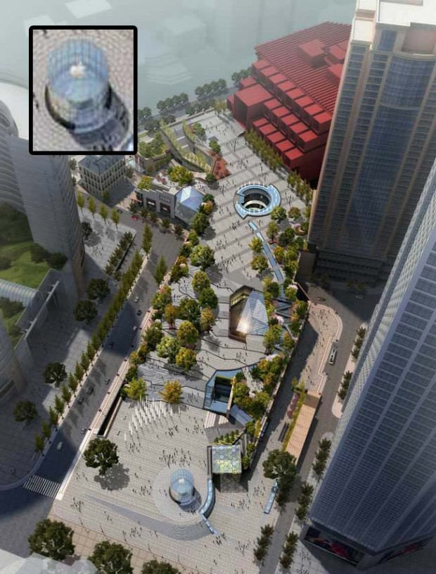 guotai plaza renderingapple 620x815 L'Apple Store di Chongqing, in Cina, avrà un ingresso interamente in vetro