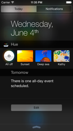 huecentronotifiche LAzienda Philips pensa ad un widget di Hue Lights integrato nel centro notifiche di iOS 8