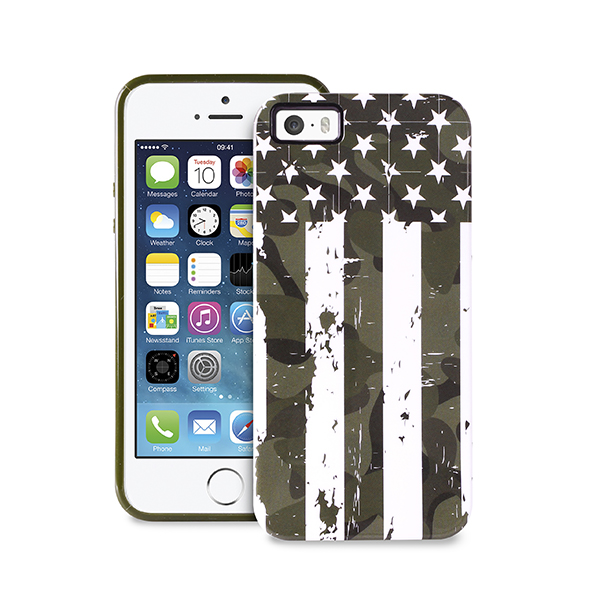 IPC5CAMOUFLAGUSA Puro: Cover Camou Flag per iPhone 5/5s vedono protagoniste le bandiere UK e USA