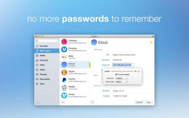 Locko password manager and file vault 1 620x387 Locko   password manager per Mac oggi gratis invece che €17,99