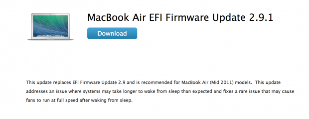 macbookair 620x240 Apple rilascia l'update EFI 2.9.1 per MacBook Air