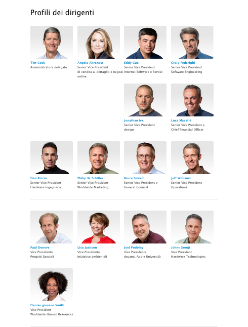 profilo dirigenti Apple aggiorna la pagina della leadership aggiungendo due donne portando a cinque i vice presidenti
