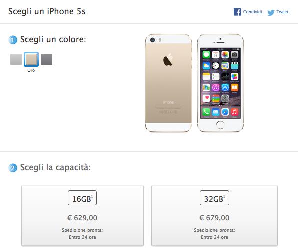 Schermata 2014 09 10 alle 18.12.59 Apple revisiona i prezzi delliPhone 5c e delliPhone 5s: si parte rispettivamente da 429€ e 629€