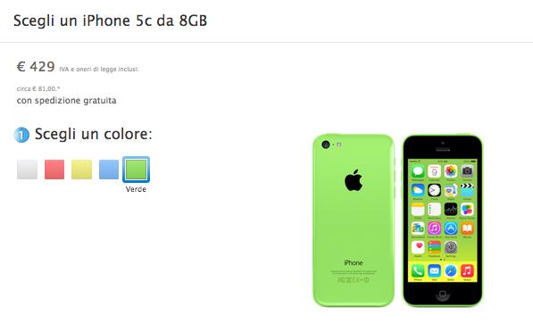 Schermata 2014 09 10 alle 18.13.18 Apple revisiona i prezzi delliPhone 5c e delliPhone 5s: si parte rispettivamente da 429€ e 629€