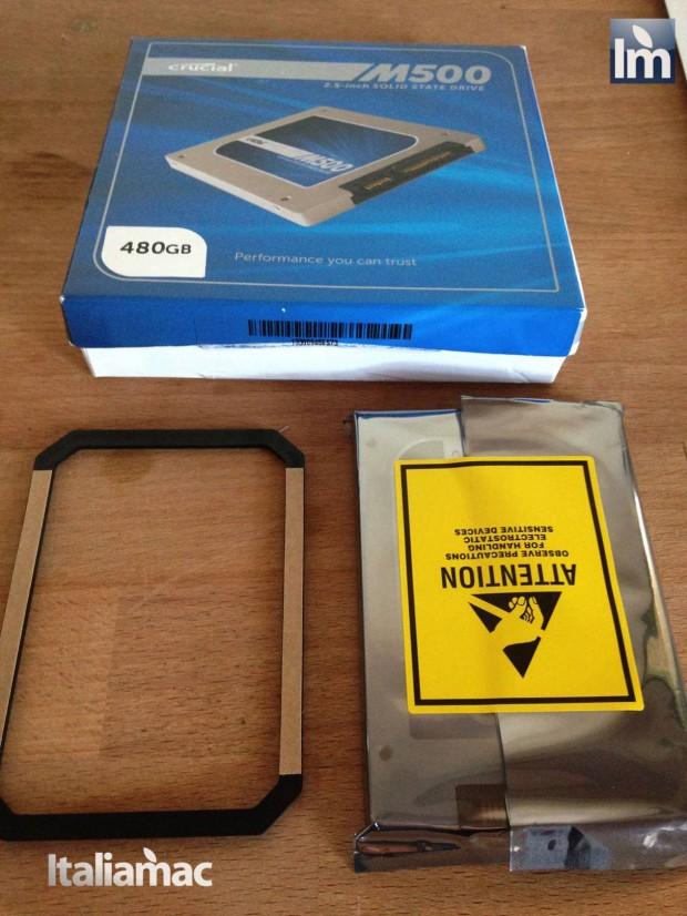 13 Crucial SSD M500 480GB 620x826 Gallery: Montaggio SSD Crucial M500 da 480 GB su MacBook Pro 17