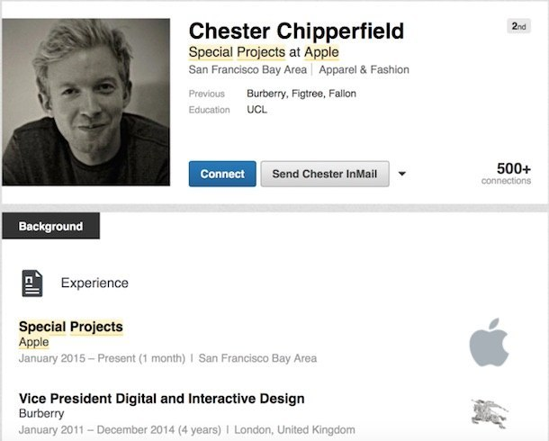 chipperfield linkedln LAzienda di Cupertino assume Chester Chipperfield di Burberry