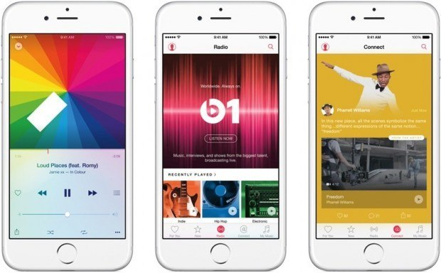applemusic 800x496 620x384 Apple pagherà 0.2 centesimi per ogni canzone presente in Apple Music per il periodo di prova