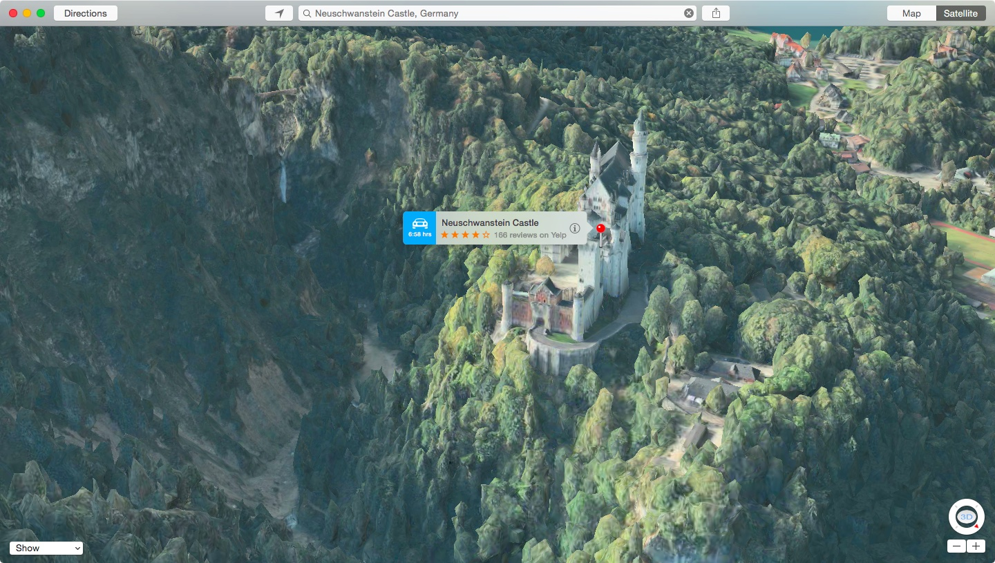 apple maps flyover neuschwanstein castle germany mac screenshot 002 Le Mappe Flyover si aggiornano introducendo nuove città