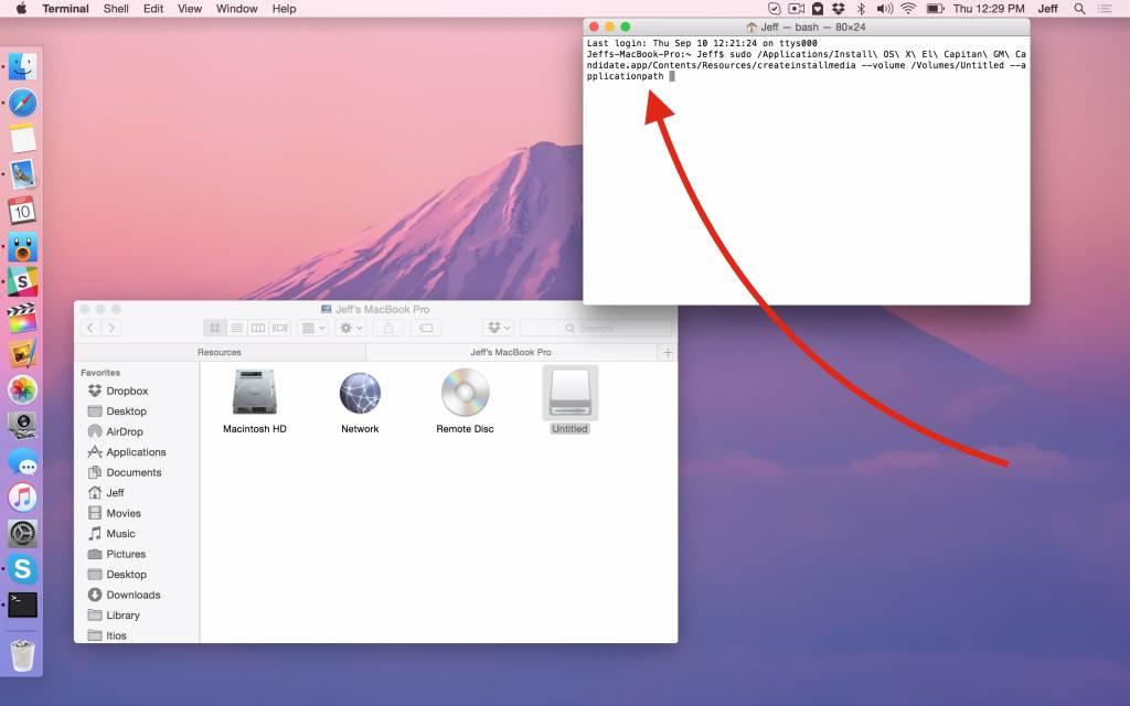 el capitan installdisk applicationpath 1024x640 Come creare un installer USB di El Capitan