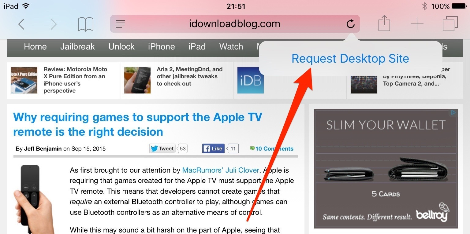 ios 9 request desktop site ipad screenshot 001 Come richiedere la versione di un sito desktop in Safari con iOS 9