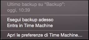 Barra menù Time Machine