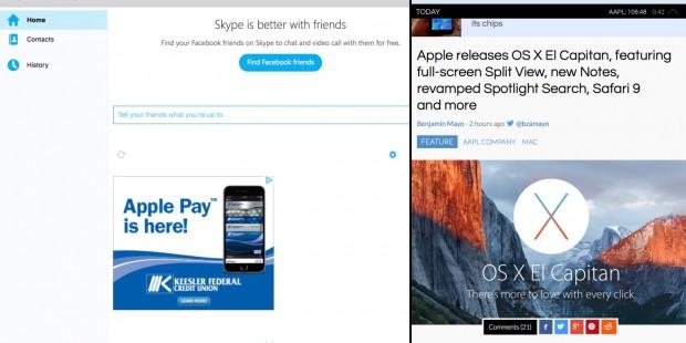 screen shot 2015 09 30 at 2 34 55 pm 620x310 Skype aggiornato per supportare la Split View di OS X El Capitan